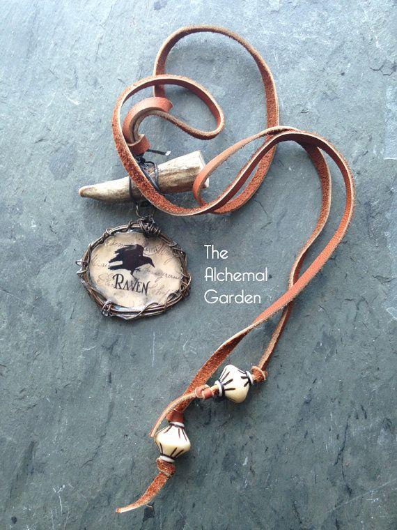 Raven Spirit Bone and Leather necklace bone by TheAlchemalGarden ...