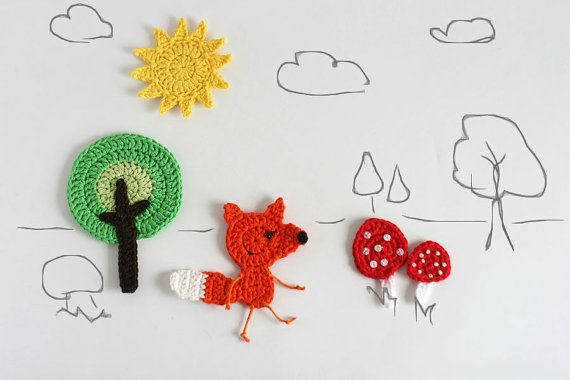 Fox set crochet pattern woodland creatures collection forest