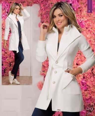 68341cb6 Abrigo De Dama color Blanco | hermosos Diseños en 2019 | Abrigos y ...
