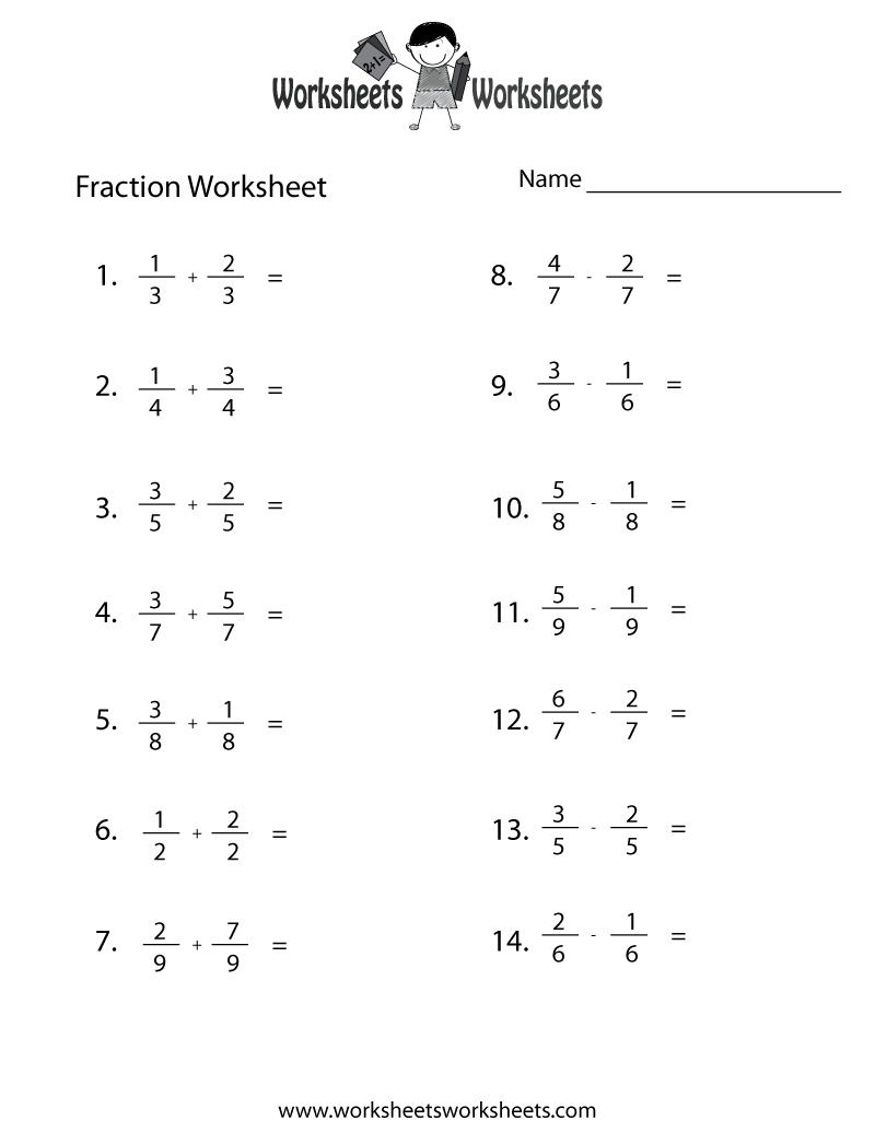 Fraction Practice Worksheet - Free Printable Educational Worksheet   Fractions  worksheets [ 1035 x 800 Pixel ]