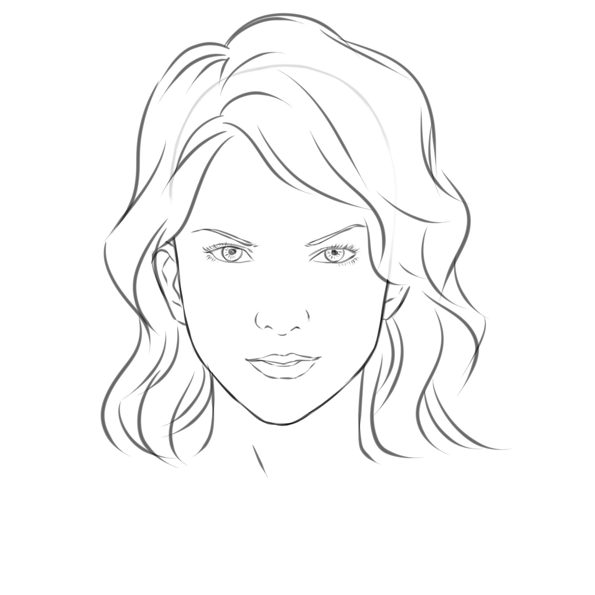 Line Drawing Lady Face : Draw a girl s face drawings female faces and