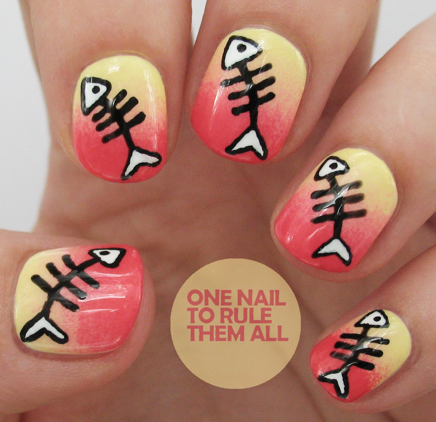 nail art fishing | Fish Bones + Tutorial - Nail Art Fishing Fish Bones + Tutorial Nails Pinterest