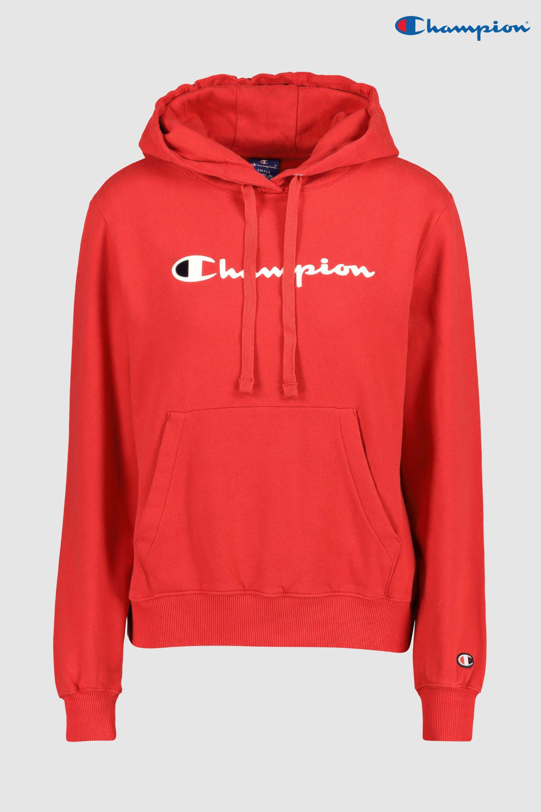 14b7abe9c75 Womens Champion Logo Hoody - Red | outfits in 2019 | Champion hoodie ...