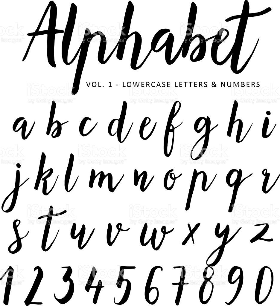 Hand Drawn Vector Alphabet Script Font Brush Isolated Letters Royalty