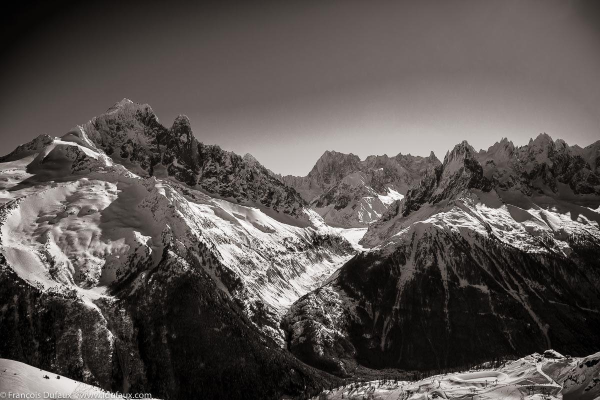 Chamonix La Vallee Blanche La Mer De Glace Massif Du Mont Blanc Francois Dufaux C Photographie En Noir Et Chamonix Photographie Noir Et Blanc Noir Et Blanc
