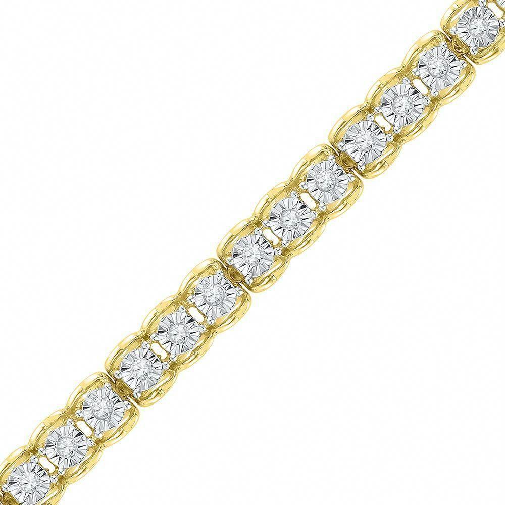 10kt Yellow Gold Womens Round Diamond Tennis Bracelet 1 2 Cttw Diamondtennisbracelets Silver Diamond Bracelet Trending Bracelets White Gold Diamond Bracelet