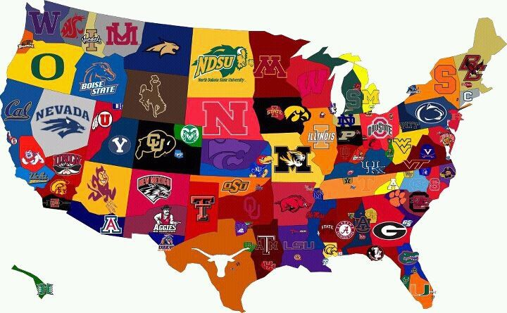 cool USA map with college sports teams | KY Wildcats & Sports