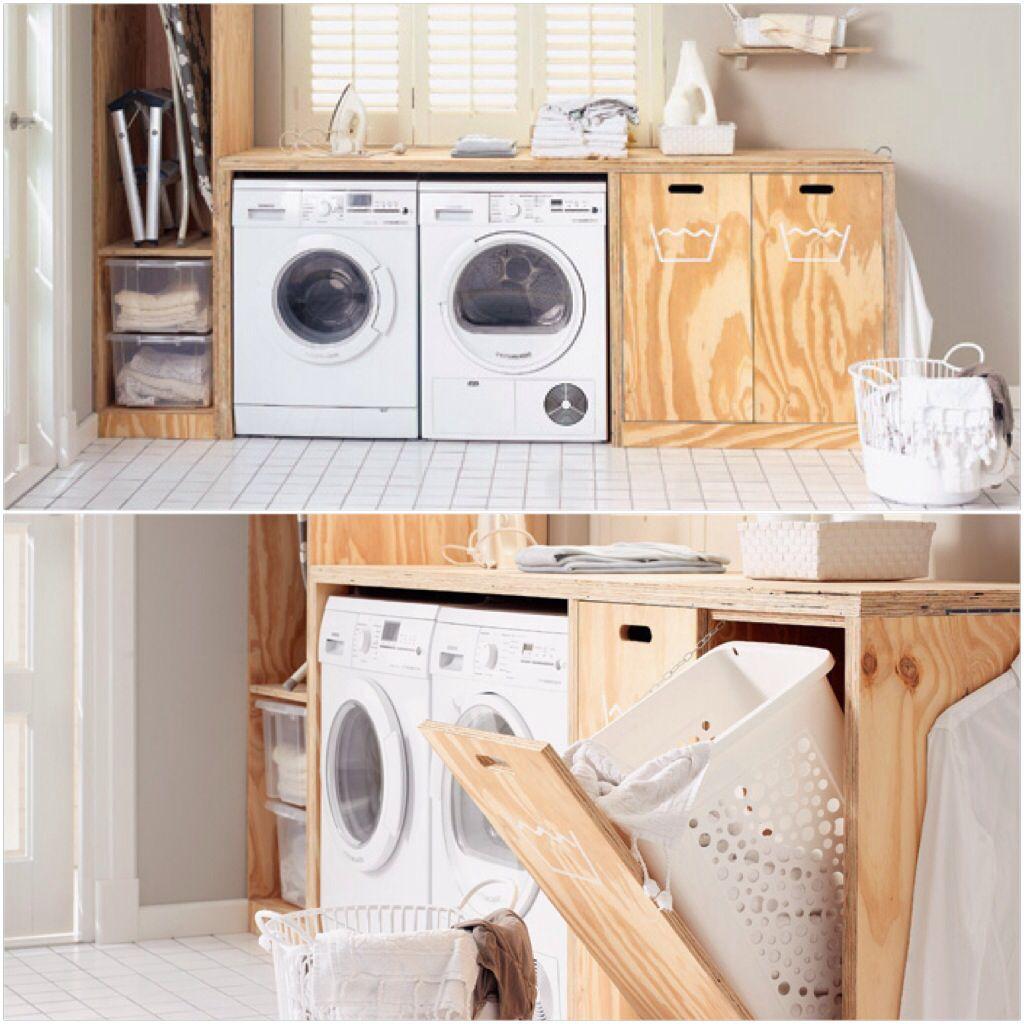 Wasmanden met houten ombouw - badkamer | Pinterest - Wasmanden ...