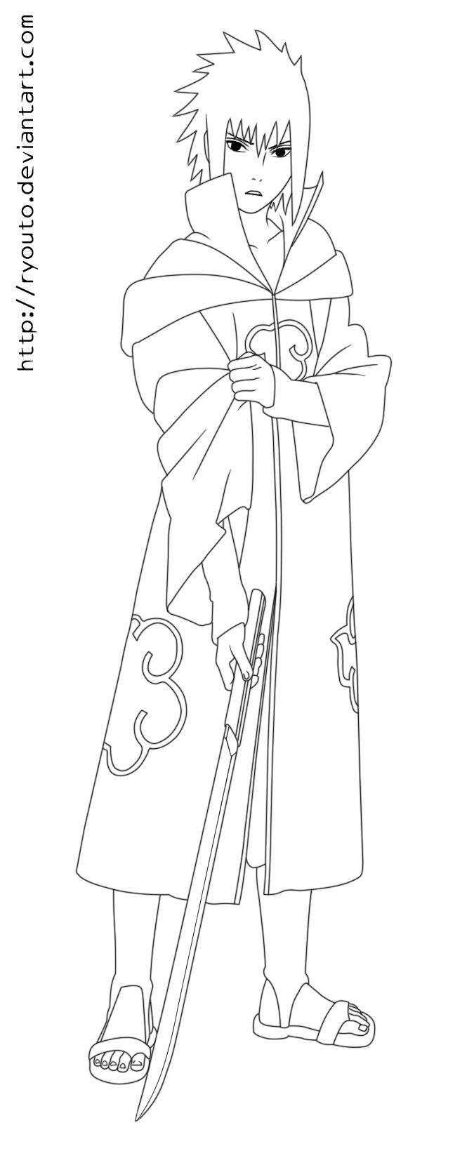 Akatsuki Sasuke Lineart 411 By Ryouto Deviantart Com On