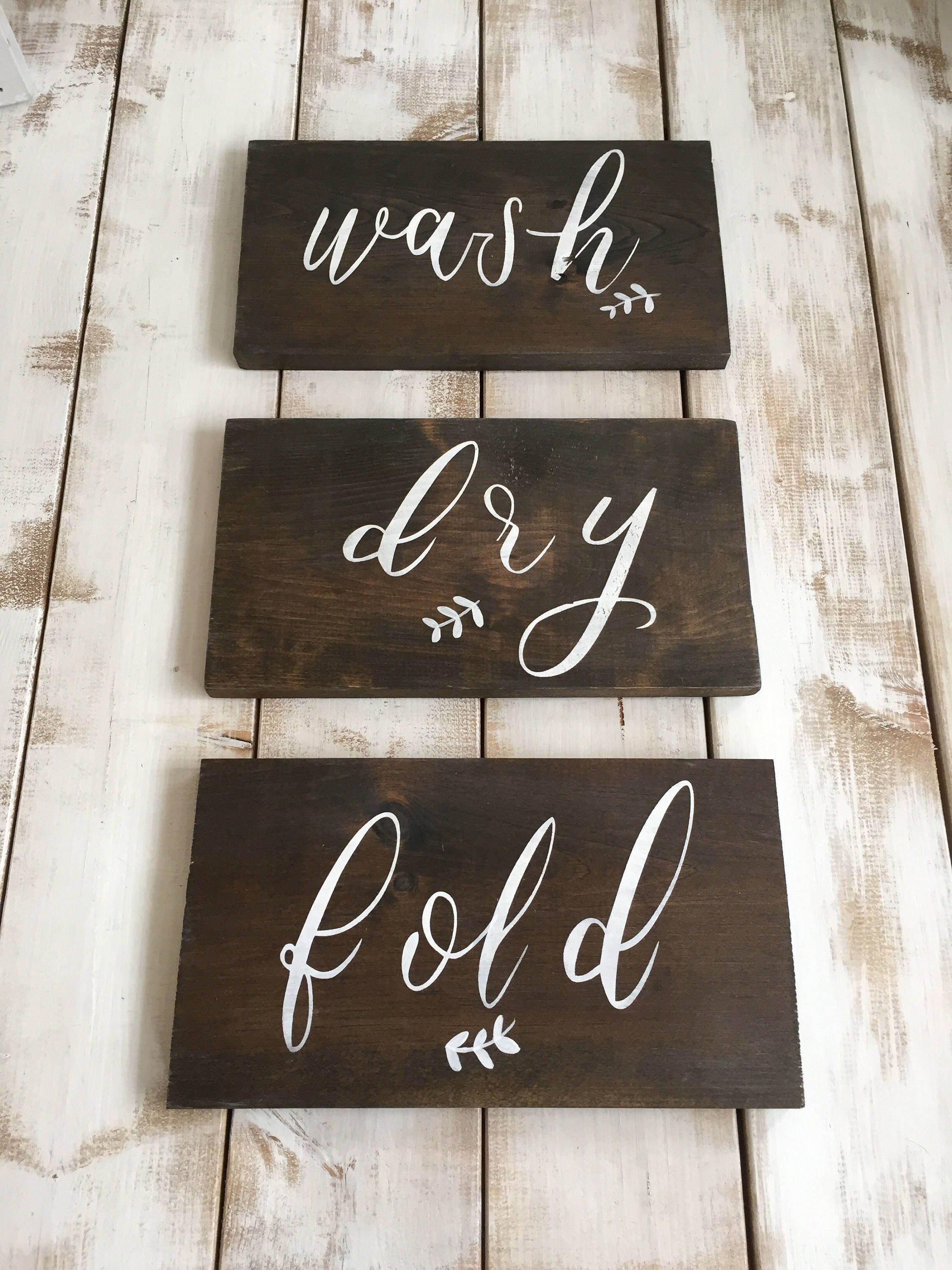 Excited To Share The Latest Addition To My Etsy Shop Wash Dry Fold Wood Sign Set Laundry Rustic Wooden Wooden Signs Diy Custom Wooden Signs Wooden Signs