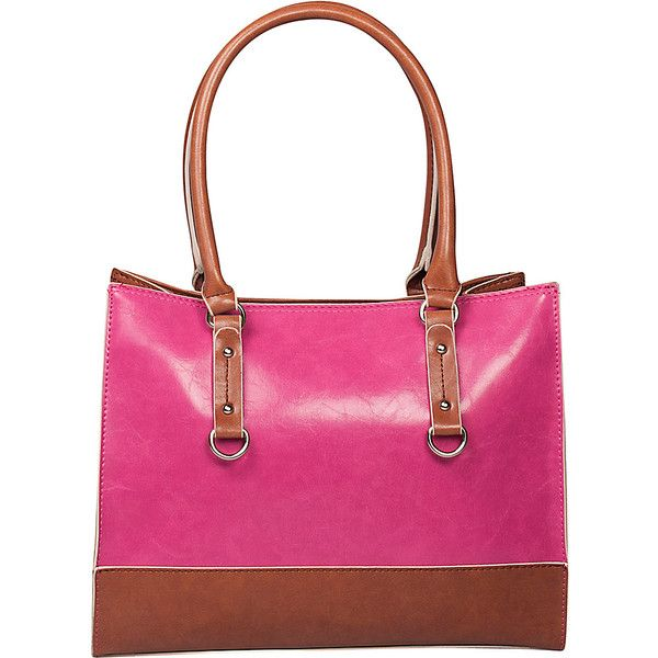 Emilie M Kimberley Two Tone Tote ($36) ❤ liked on Polyvore featuring bags, handbags, tote bags, manmade handbags, pink, faux-leather handbags, pink tote, tote purses, pink tote purse and man bag