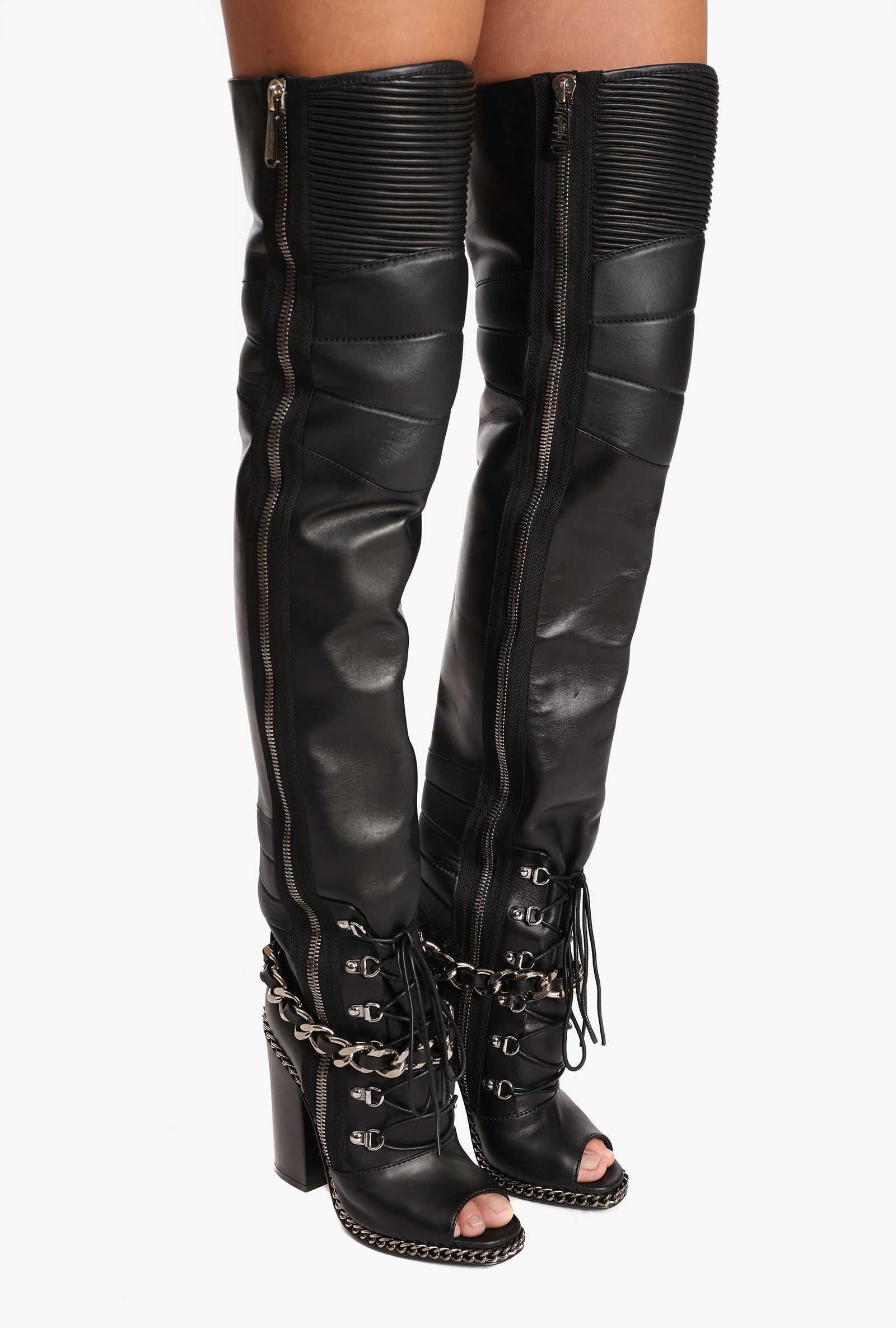 f8a2dfbae48 Leather Diamona thigh-high boots