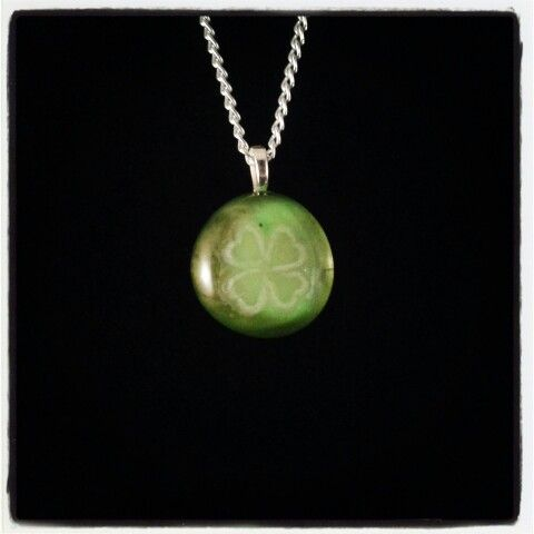 Lucky Four Leaf Clover Amulet Hand Engraved Glass Stone Pendant