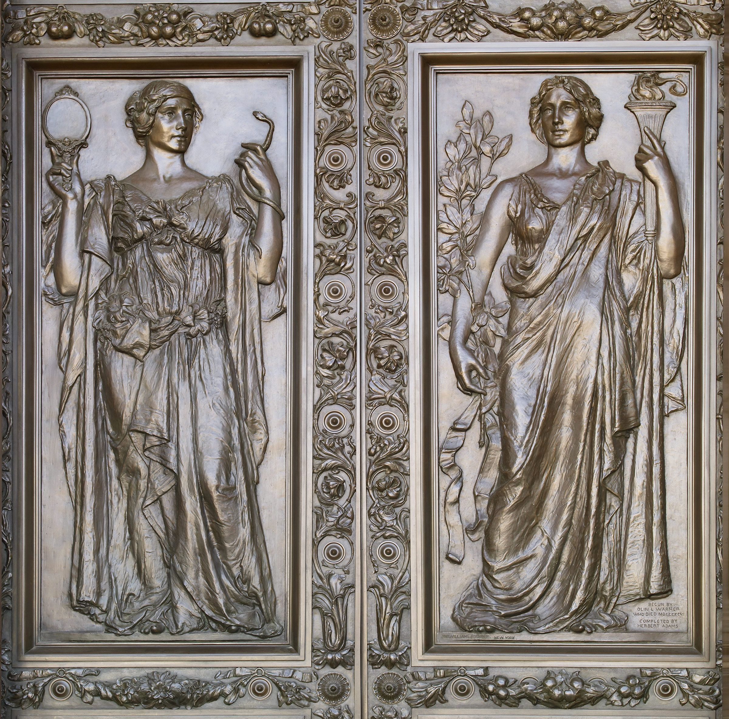 Bronze doors at the main entrance with female figures representing Truth (holding a mirror and & Bronze doors at the main entrance with female figures representing ... Pezcame.Com