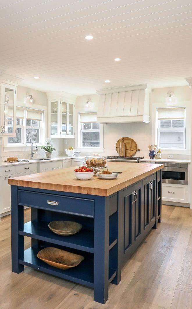 kitchen with blue island in 2020 kitchen decor inspiration farmhouse kitchen island home on farmhouse kitchen navy island id=34329