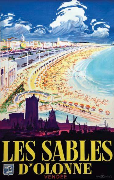 Vintage railway travel poster les sables d 39 olonne - Office de tourisme les sables d olonnes ...