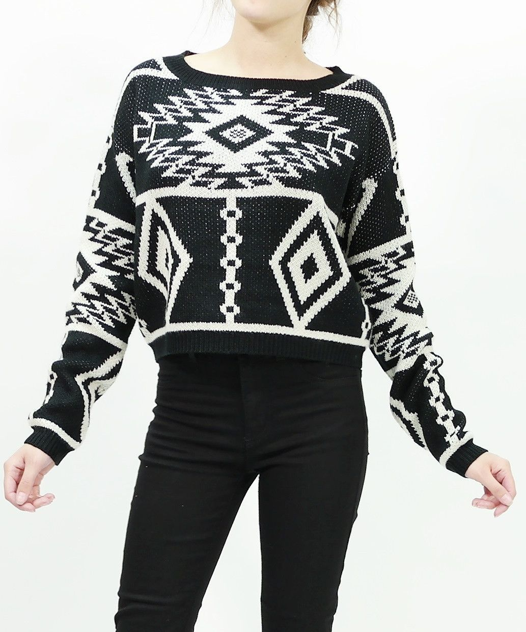 84a1f558cc95e6 Long sleeve knit tribal aztec print crop sweater tops