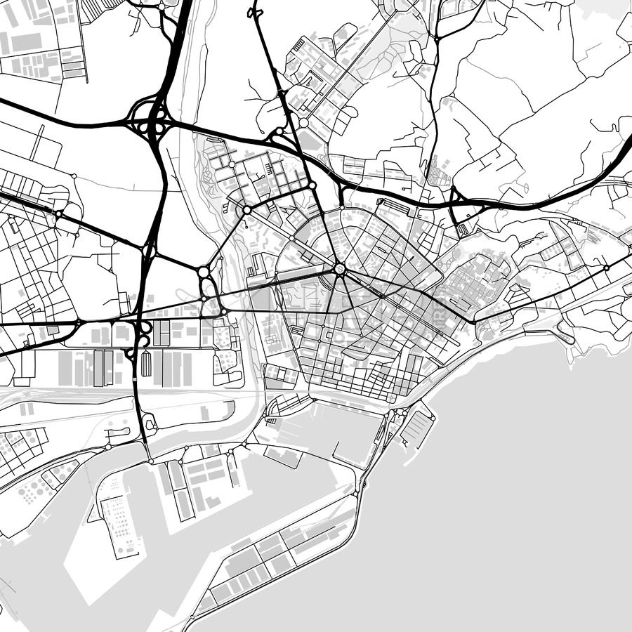 Map Of Spain Reus.Downtown Map Of Tarragona Reus Spain Maps Vector Downloads