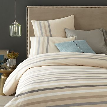 Playa Stripe Duvet Cover Shams Feather Gray Would