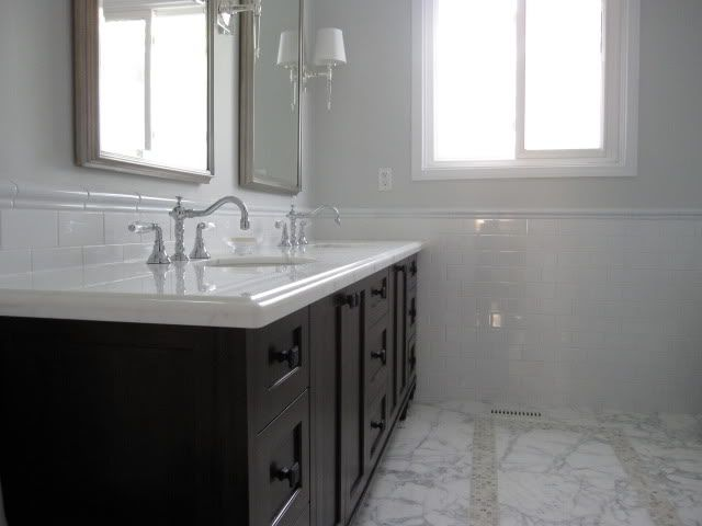 Trendy Pale Gray Bathroom Marble White Subway Tile Uhorizonu By With Bathrooms  Gray And White