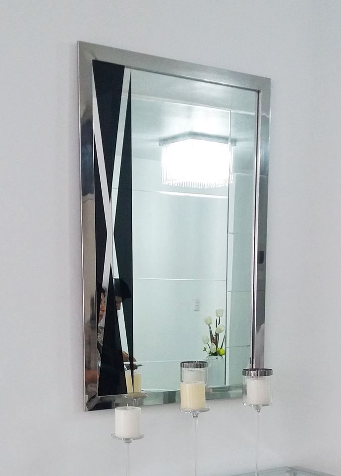 Espejo Cristal de 0.95m x 0.65m con marco de acero inox | Pinterest ...