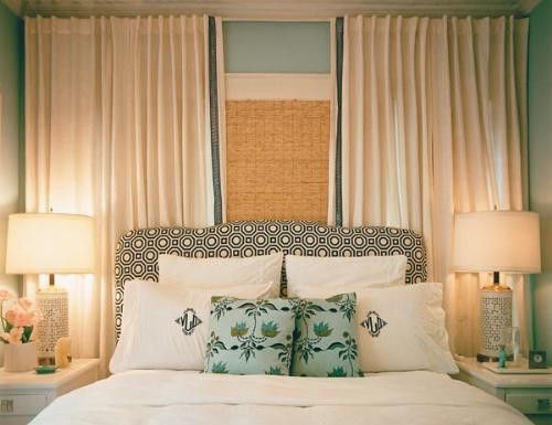 wall to wall drapery to hide off center window bedroom Pinterest