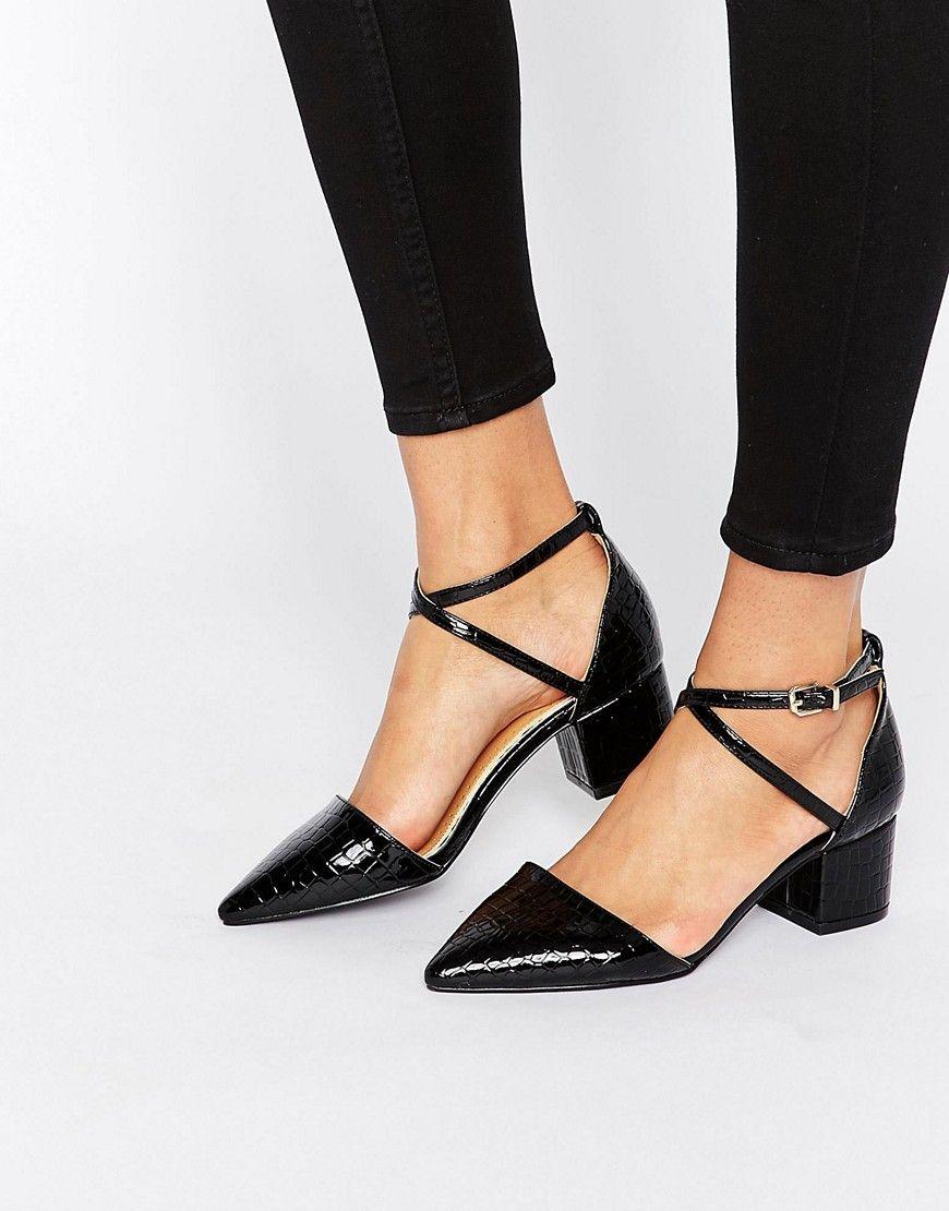 d24dfbef6a1 RAID Avia Black Croc Point Mid Heeled Shoes - Black | Shop the look ...