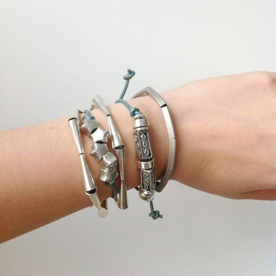DIY tutorial for this sleek silver bracelet. Requires no pliers! Layer with other silver bracelets for a chic and stylish look