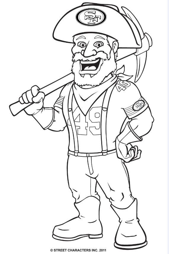 49ers Mascot Sourdough Sam Coloring Page Coloring Pages Cool Coloring Pages Mothers Day Coloring Sheets