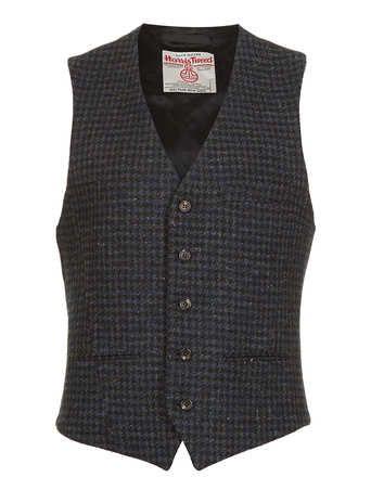 Mens Wool Blend Tweed Brown Dogtooth  Waistcoat Vest All Sizes  M L Xl Xxl