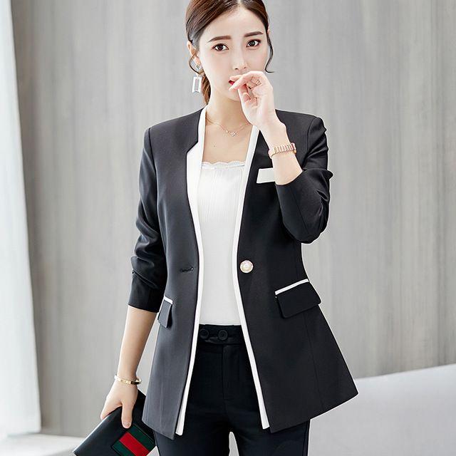 28bd31214bf1 Fashion Blazer Women New 2018 Spring Autumn Slim Fit Formal Jackets Office  Lady Work Wear Coat Women Blazer feminino V017