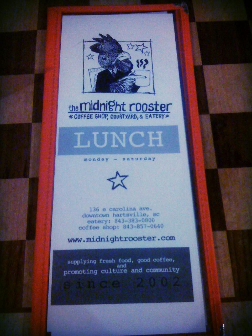 Lunch menu cover of midnight rooster a coffee shop that