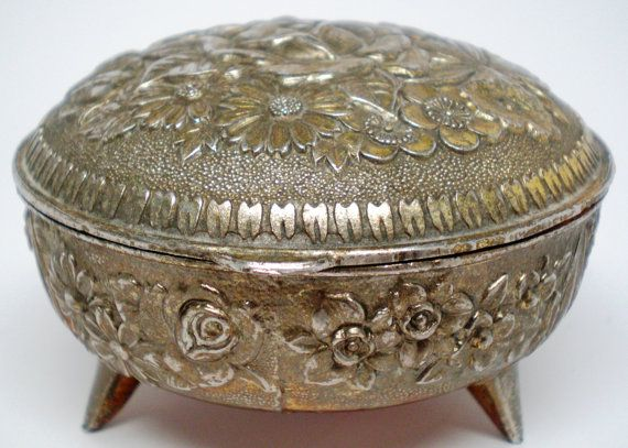 Vintage Antique Victorian Jewelry Trinket  Box Embossed with Flowers Shabby Chic With Little Legs