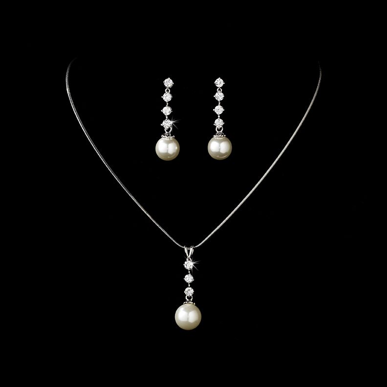 Elegant Pearl and Cubic Zirconia Bridal Jewelry Set Bridal jewelry