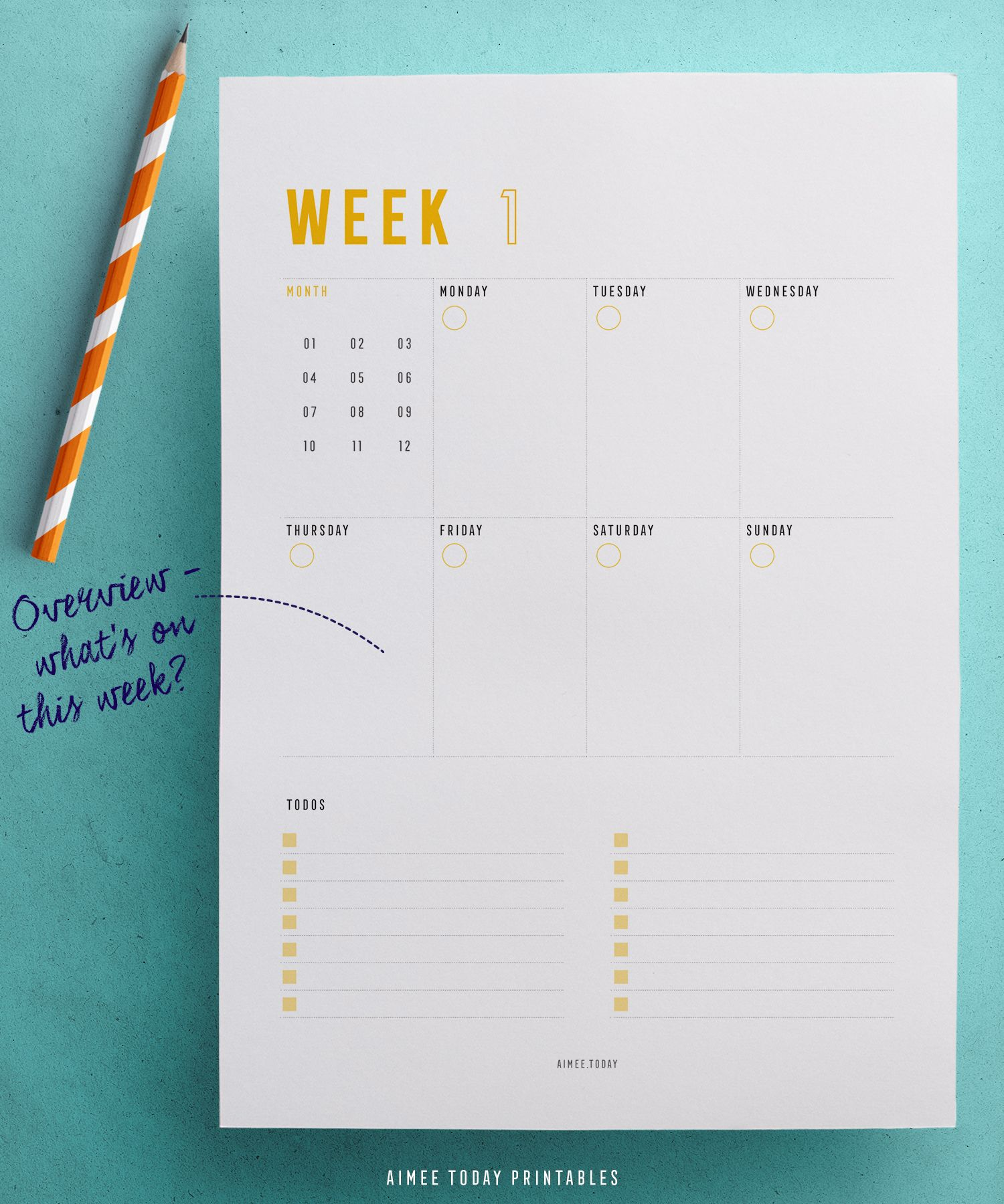 weekly planner printable with daily top 3 priorities and todos