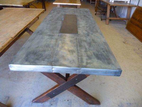 Amazing Zinc Table Top, Wood Legs