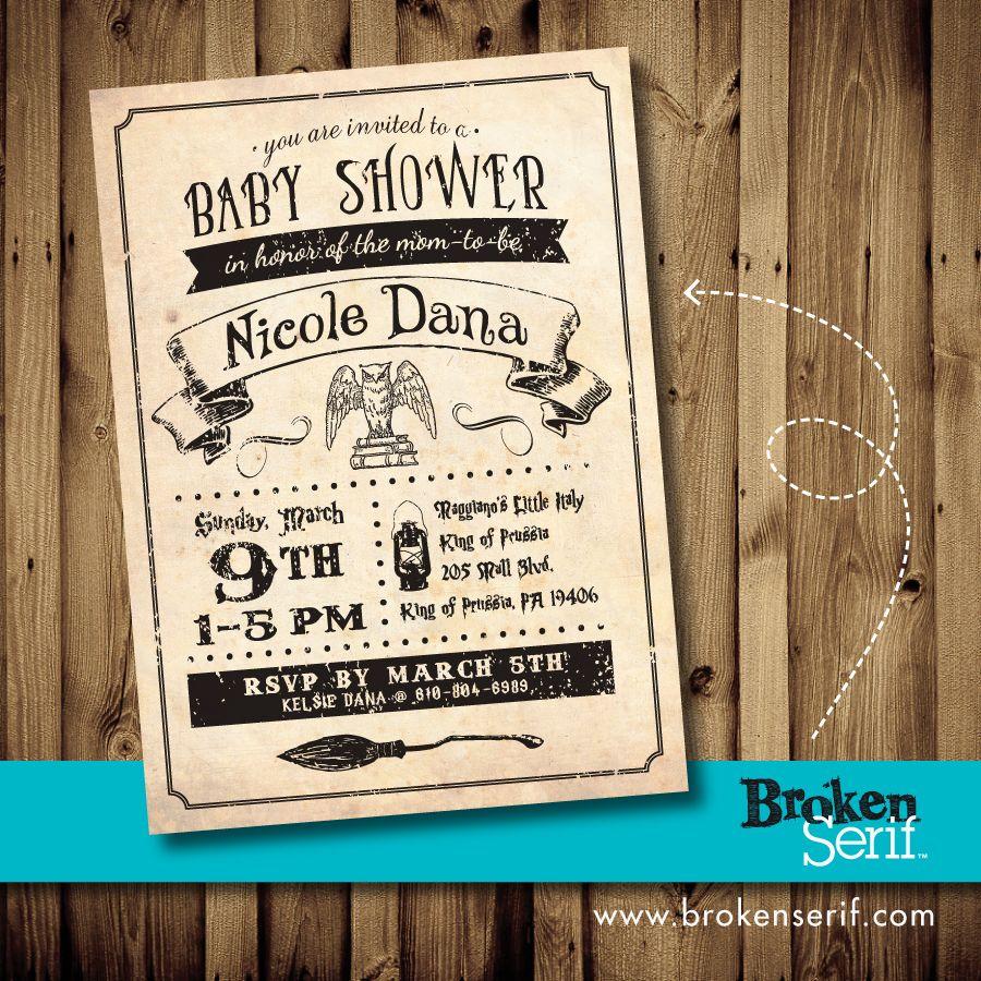 Nicole\'s Baby Shower Invite Design, Harry Potter Theme | My ...