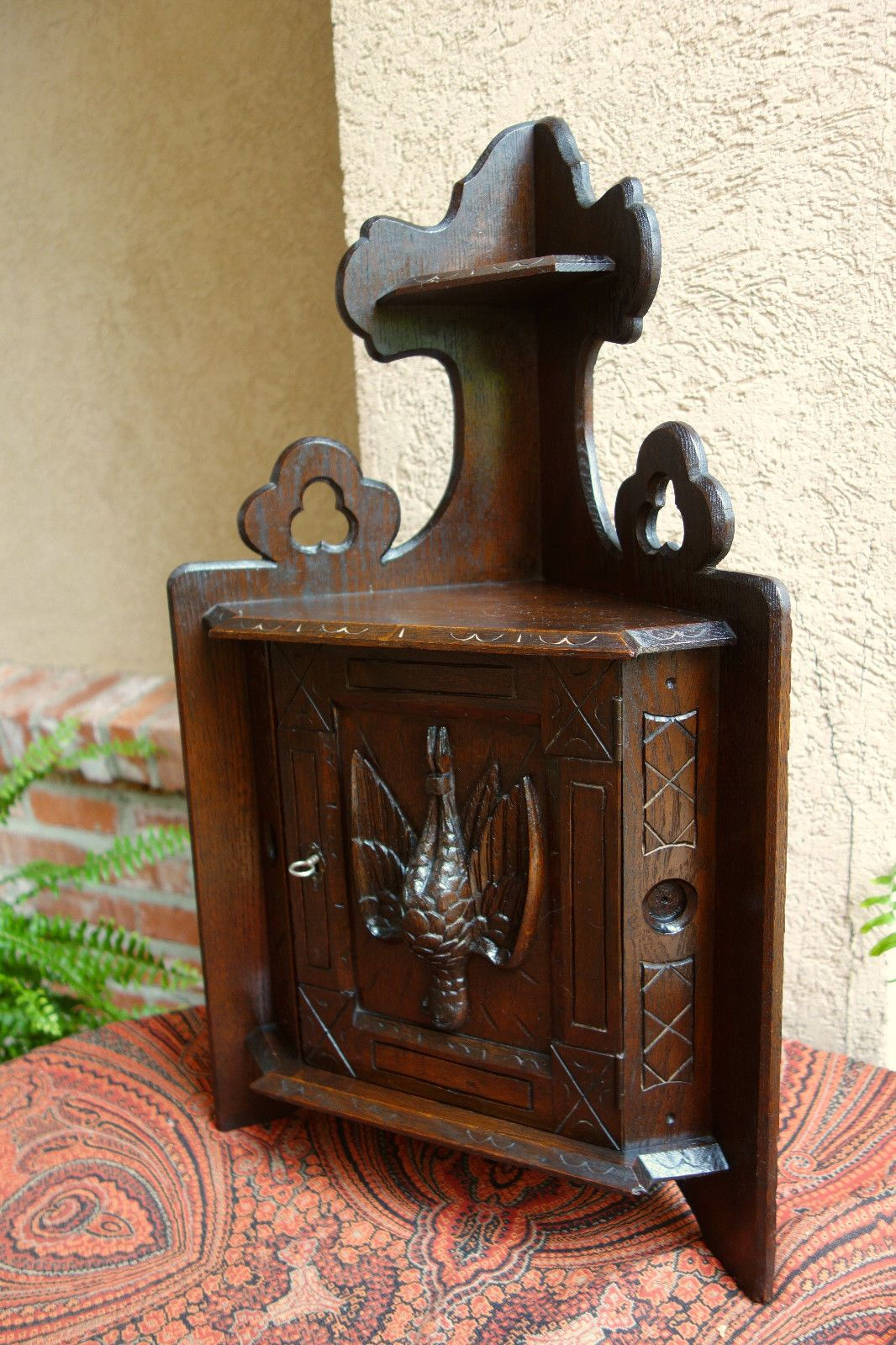 Small Antique French Carved Dark Oak Corner Cabinet Shelf Wall Hunt Pheasant