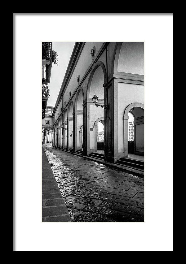 Below The Visari Corridor Florence Italy Bw Framed Print by Joan ...