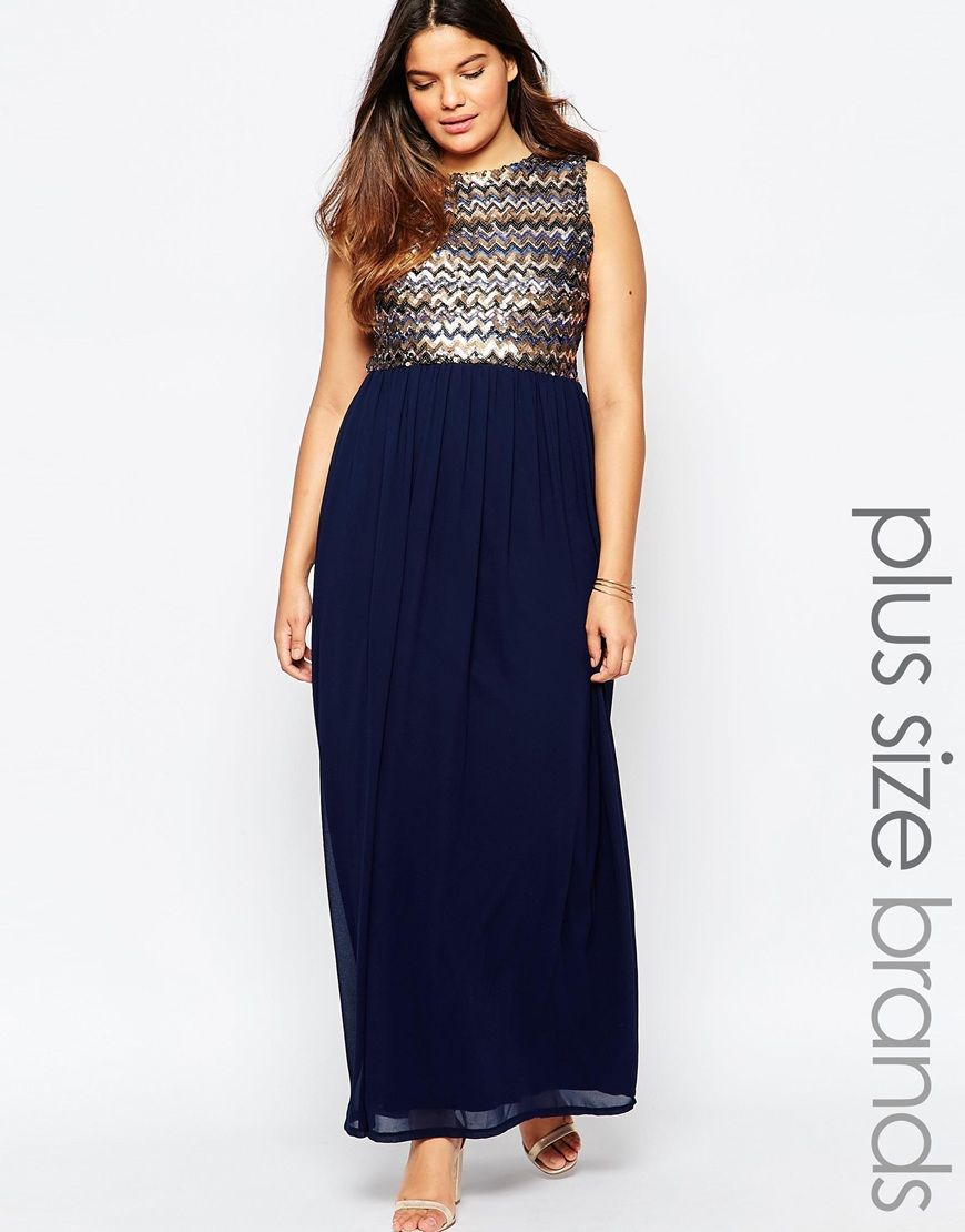club l plus size maxi dress with sequin top | fashion - long