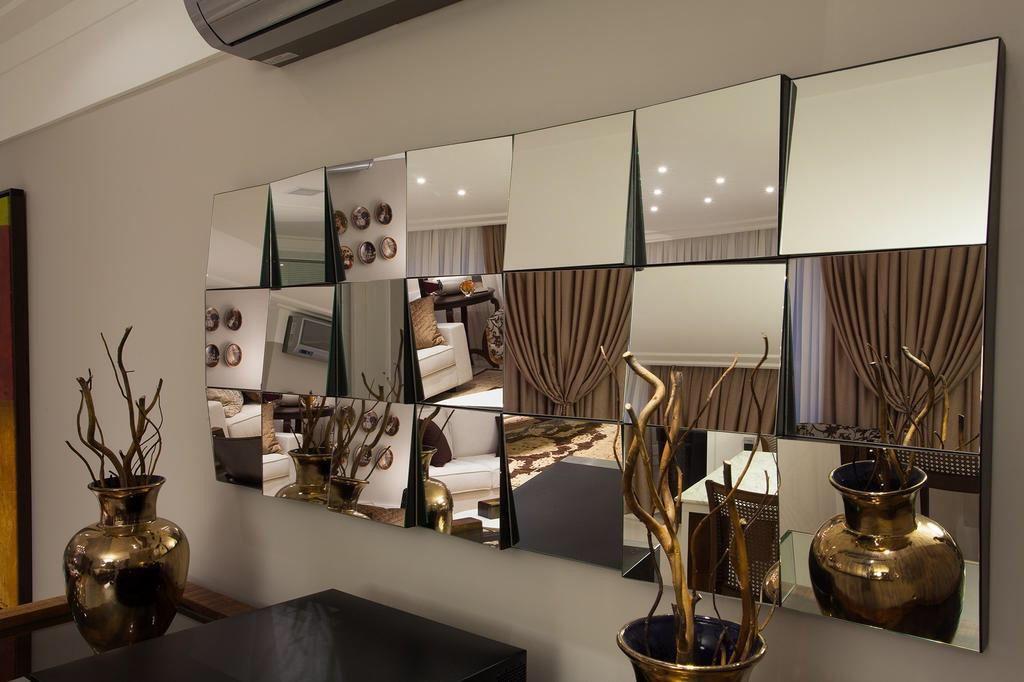 Espelhos decorativos com composi o geom tricas espelhos for Adornos decorativos para sala