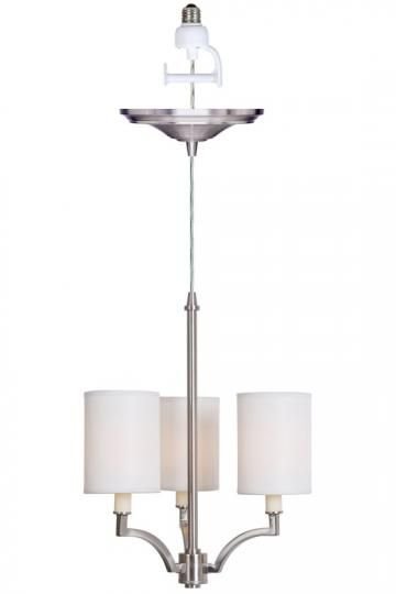Home Decorators Collection Claire L 15 In 3 Light Brushed Nickel Small Instant Chandelier 0888300220 Recessed Lighting Recessed Light Conversion Kit Chandelier Design