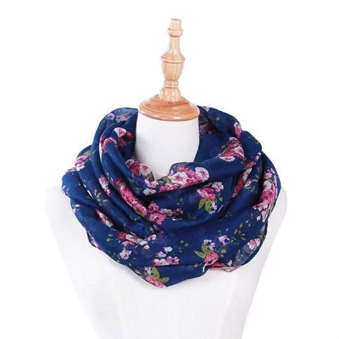 7aca9e8493a5 Hot Sale New Fashion Warm Women Flower Loop Scarf Female Small Rose Print  Ring Scarves Shawl Wrap