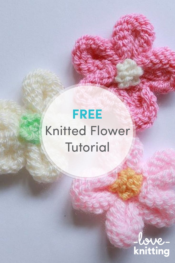 1c8de7383cb1f Knitted Flower Tutorial Free | Free Knitting Patterns | Knitted ...