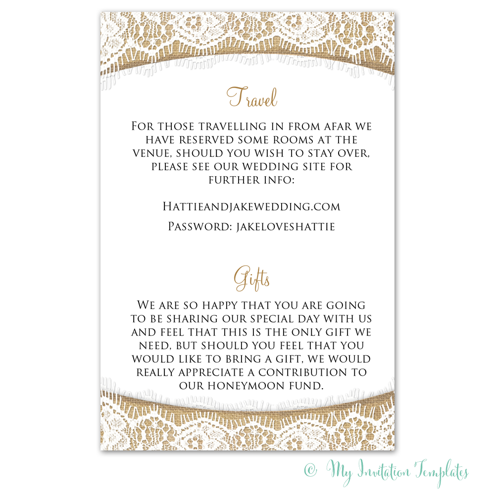 Wedding Information Card Template Rustic Burlap And Lace
