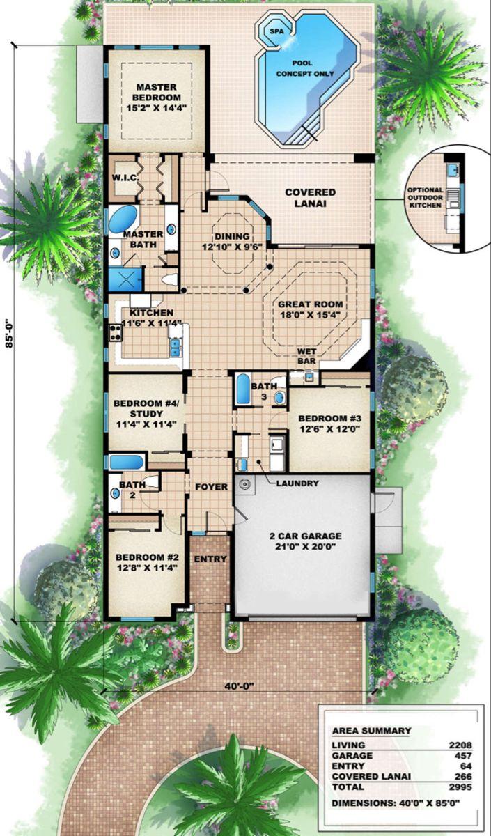 House Plan 1018 00013 Mediterranean Plan 2 208 Square Feet 3 4 Bedrooms 3 Bathrooms In 2020 Narrow Lot House Plans Mediterranean Style House Plans Mediterranean House Plans