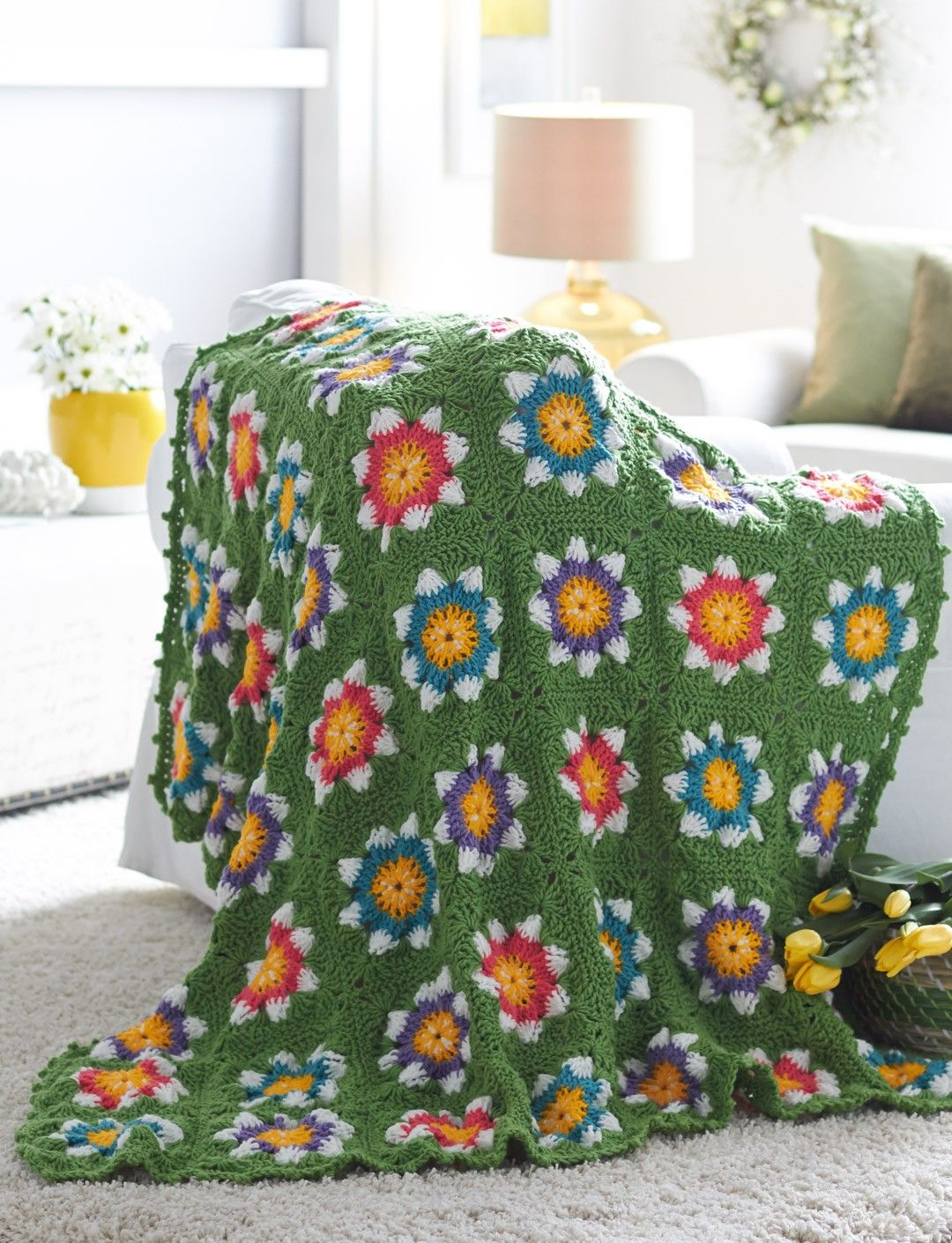 Yarnspirations.com - Bernat Field of Flowers Blanket - Patterns  | Yarnspirations - (Pattern Downloaded - SLT)