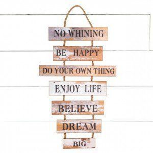 Life Rules Hanging Wooden Sign