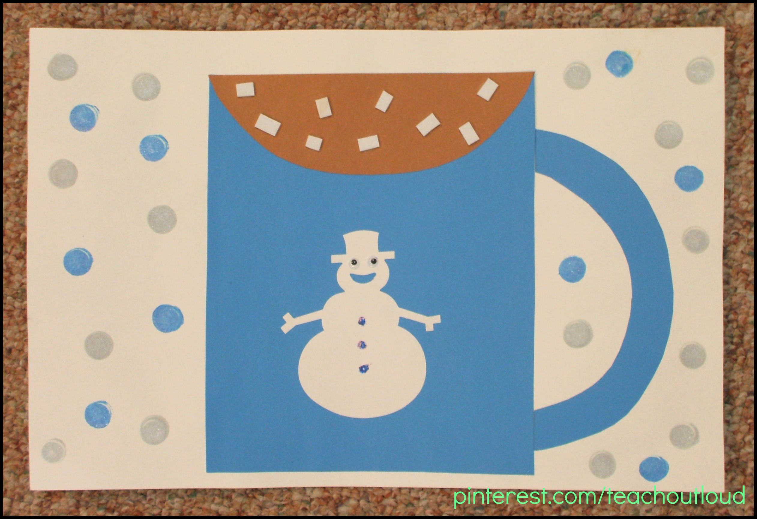 Hot Chocolate White Foam Marshmallows Snowman Winter January Craft Crafts Preschool
