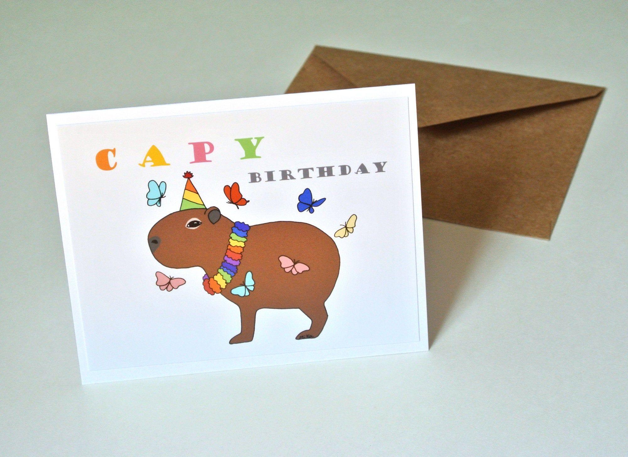 Capy Birthday Capybara Card Happy Birthday Card Funny Pun Cute Etsy Happy Birthday Card Funny Funny Birthday Cards Happy Birthday Cards